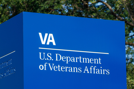 Fort Wayne - Circa August 2018: Signage and logo of the U.S. Department of Veterans Affairs. The VA provides healthcare services to military veterans III Editorial