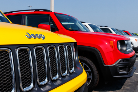 Noblesville - Circa August 2018: Jeep Renegade on display at a Chrysler Jeep dealership. The subsidiaries of FCA are Chrysler, Dodge, Jeep, Ram, Mopar and SRT XII