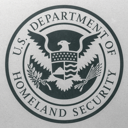Indianapolis - Circa August 2018: Logo and seal of the United States Department of Homeland Security. DHS runs Immigration and Customs Enforcement (ICE) II