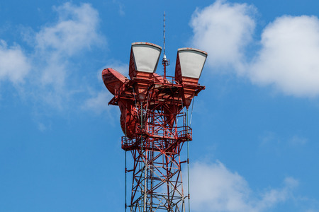 Microwave receive and transmission tower with wireless signal for telecommunications Banco de Imagens