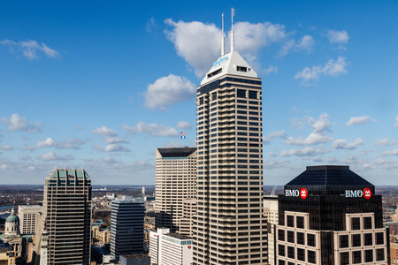 Indianapolis - Circa January 2019: Indianapolis Downtown Skyline on a Sunny Day including the Salesforce, BMO Harris, and KeyBank towers I Editorial