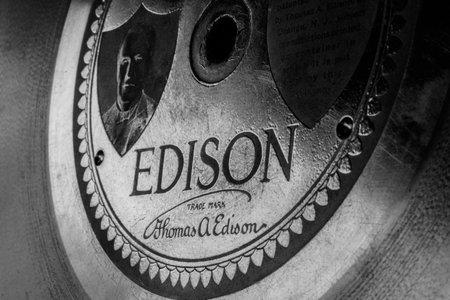 Indianapolis - Circa March 2019: Closeup of an original Thomas Edison record disc I