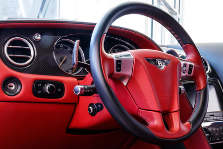 Indianapolis - Circa March 2019: Interior of a 2014 Bentley Continental GT. Bentley is a division of Volkswagen Group II