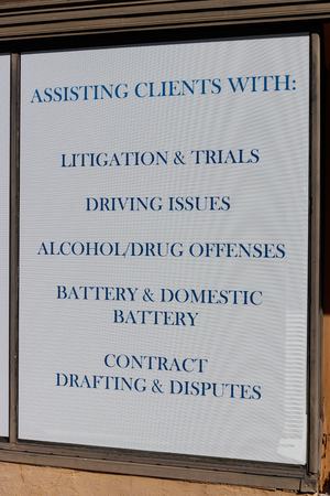 Law office advertisement with offenses the lawyer specializes