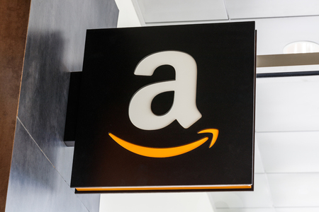 Lafayette - Circa April 2019: Amazon Store at Purdue. A brick-and-mortar store customers can receive products from Amazon.com X