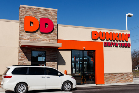 Lafayette - Circa April 2019: Dunkin Donuts Retail Location. Dunkin is Americas favorite every day, all-day stop for coffee and baked goods I