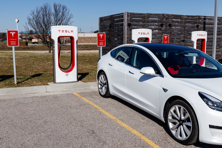 Lafayette - Circa April 2019: Tesla Supercharger Station. The Supercharger offers fast recharging of the Model S and Model X electric vehicles VI Editorial
