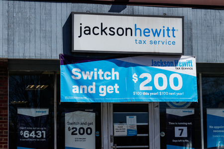 Indianapolis - Circa April 2019: Jackson Hewitt tax service location. Jackson Hewitt is the second largest tax preparation service in the US I