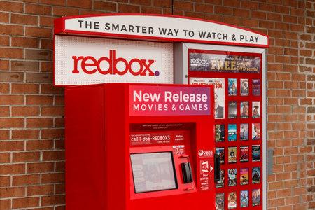 St. Marys - Circa April 2019: Redbox Retail Kiosk. Redbox Rents DVDs, Blu-Ray and Video Game Discs I Editöryel