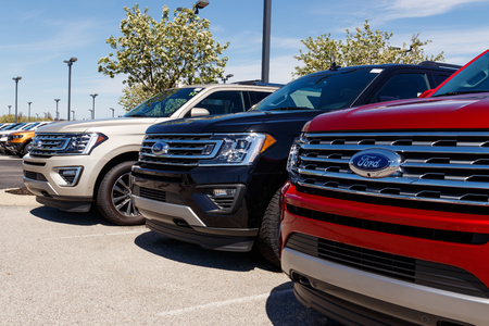 Noblesville - Circa April 2019: Ford Car and Truck Dealership. Ford sells products under the Lincoln and Motorcraft brands