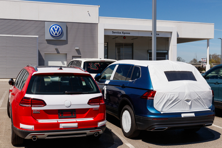 Noblesville - Circa April 2019: Volkswagen Cars and SUV Dealership. VW is Among the Worlds Largest Car Manufacturers IV
