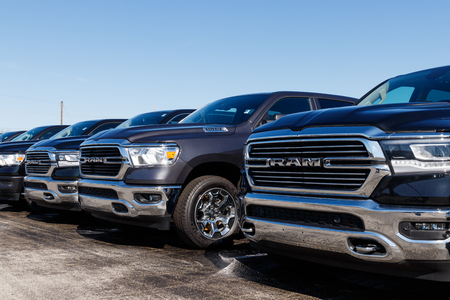 Noblesville - Circa April 2019: Ram 1500 on display at a Chrysler Ram dealership. The subsidiaries of FCA are Chrysler, Dodge, Jeep, and Ram II