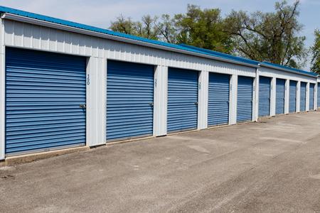 Numbered self storage and mini storage garage units