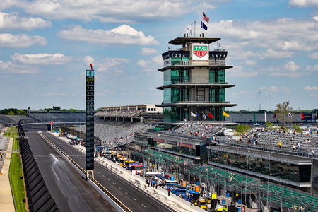 Indianapolis - Circa May 2019: The Pagoda at Indianapolis Motor Speedway. IMS Prepares for the Indy 500 XII