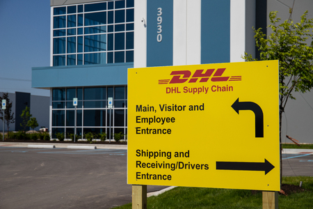 Whitestown - Circa May 2019: DHL Supply Chain location. DHL is rolling out a new fleet of 63 electric delivery vans in the U.S. II Editorial