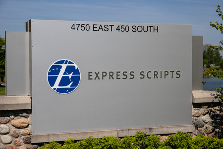 Whitestown - Circa May 2019: Express Scripts pharmacy. Express Scripts is a subsidiary of Cigna I Editöryel