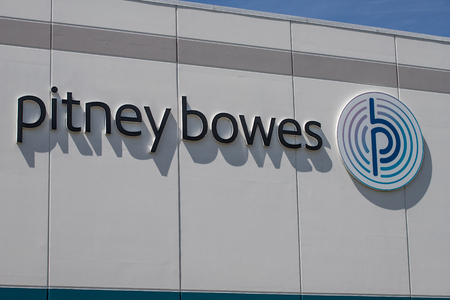 Whitestown - Circa May 2019: Pitney Bowes distribution center. Pitney Bowes is transforming into a digital company from its postage meter roots I Editorial