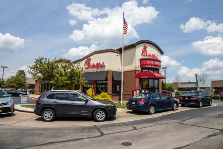 Indianapolis - Circa May 2019: Chick-fil-A chicken restaurant. Despite ongoing controversy, Chick-fil-A is wildly popular II