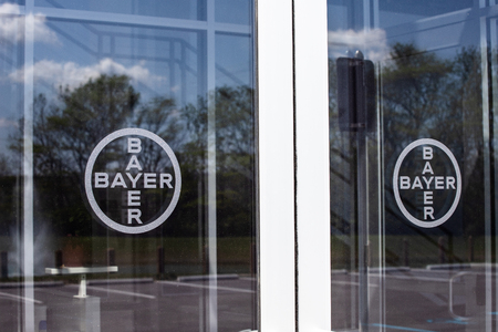 Whitestown - Circa May 2019: Bayer AG logo. After the acquisition of Monsanto, Bayer is responsible for its glyphosate lawsuits I