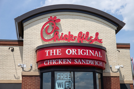 Indianapolis - Circa May 2019: Chick-fil-A chicken restaurant. Despite ongoing controversy, Chick-fil-A is wildly popular III