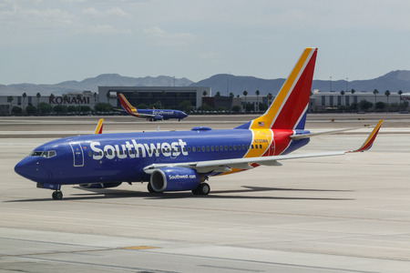 Las Vegas - Circa June 2019: Southwest Airlines Boeing 737s preparing for departure. Southwest is the largest low-cost carrier in the world II Редакционное