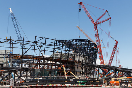Las Vegas - Circa June 2019: Las Vegas Stadium under construction and will host the NFL Raiders and the UNLV Rebels football teams IV Editorial