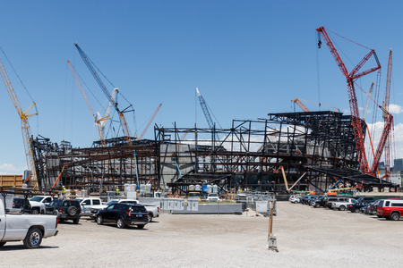 Las Vegas - Circa June 2019: Las Vegas Stadium under construction and will host the NFL Raiders and the UNLV Rebels football teams V