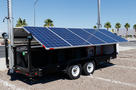 Las Vegas - Circa June 2019: DC Solar Mobile Photovoltaic Solar Panels on trailer. Each unit is equipped with a back-up generator I