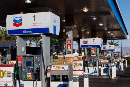 Las Vegas - Circa June 2019: Chevron Retail Gas Station. Chevron traces its roots to the Standard Oil Corporation V