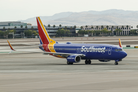 Las Vegas - Circa June 2019: Southwest Airlines Boeing 737s preparing for departure. Southwest is the largest low-cost carrier in the world I Editorial