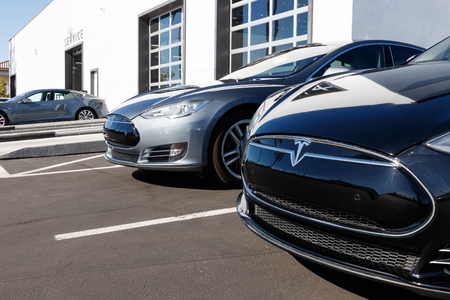 Las Vegas - Circa June 2019: Tesla EV Showroom. Tesla designs and manufactures the Model X and S electric sedans X