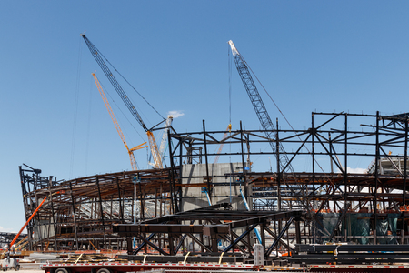 Las Vegas - Circa June 2019: Las Vegas Stadium under construction and will host the NFL Raiders and the UNLV Rebels football teams III