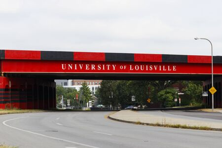 Louisville - Circa July 2019: University of Louisville themed freeway overpass I