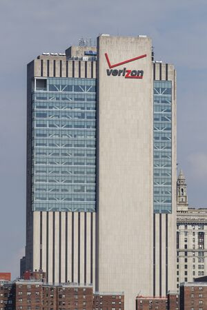 New York - Circa August 2019: The Verizon Building at 375 Pearl Street. Verizon is in a race to bring 5G cellular networks to market VIII