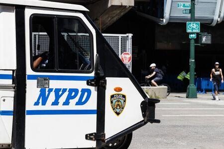 New York - Circa August 2019: New York Police Department vehicle. NYPD has jurisdiction in all boroughs of New York City I