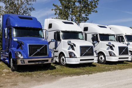 Zionsville - Circa August 2019: Volvo Semi Tractor Trailer Trucks Lined up for Sale. Volvo is one of the largest truck manufacturers I Editorial