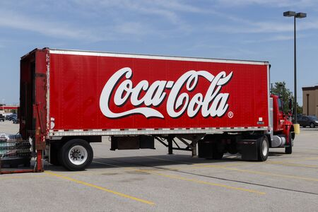 Champaign - Circa August 2019: Coca-Cola Delivery Truck. Coke products are among the best selling soda pop and non-carbonated drinks in the world IV