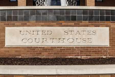 United States Court House with contemporary text in sandstone
