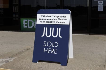 Wabash - Circa September 2019: Juul e-cigarette sign. While e-cigarettes help people quit smoking, officials are alarmed at the skyrocketing use by teenagers, children and adolescents