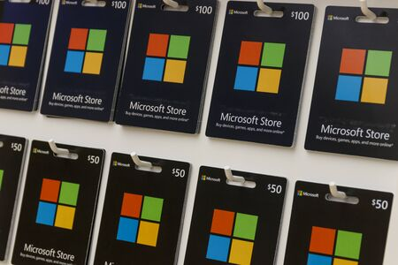 Indianapolis - Circa September 2019: Microsoft Gift Cards. Microsoft develops and manufactures Windows and Surface software