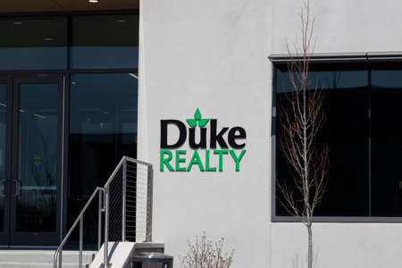 Indianapolis - Circa April 2020: Duke Realty corporate headquarters. Duke Realty owns and operates more than 149 million square feet of logistics properties.
