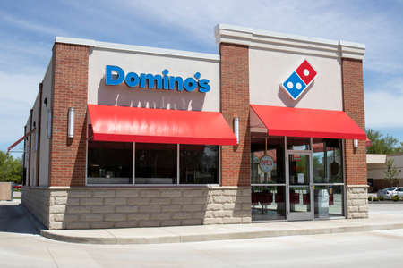 Kokomo - Circa May 2020: Domino's Pizza Restaurant. Amid Social Distancing rules, Domino's is offering pick up and delivery pizza only.
