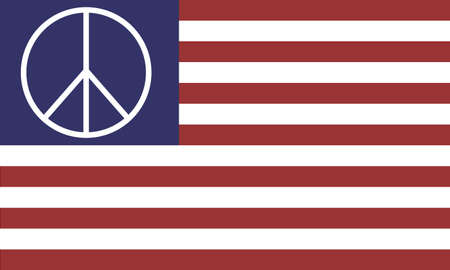American Flag vector isolated on transparent background. 13 stripes and a peace sign in the stead of stars.