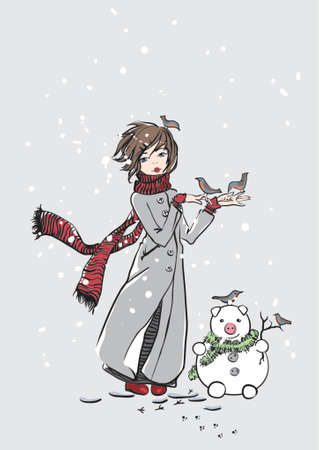 girl with snowpig and robins