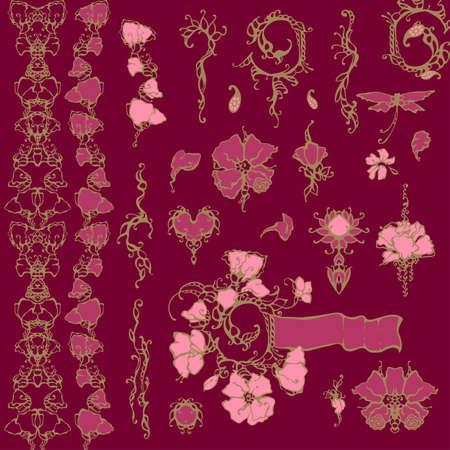 꽃 장식 벡터 디자인 요소