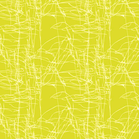 Green seamless pattern with hand drowed branches and leafs