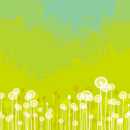 Green seamless texture with dandelion