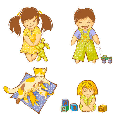 Small boy, girls and kittens