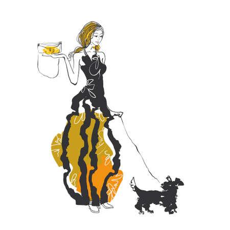세련된 여성은 강아지와 함께 산책 일러스트