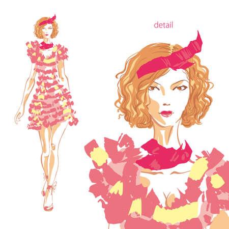 Women in pink dress, sketch